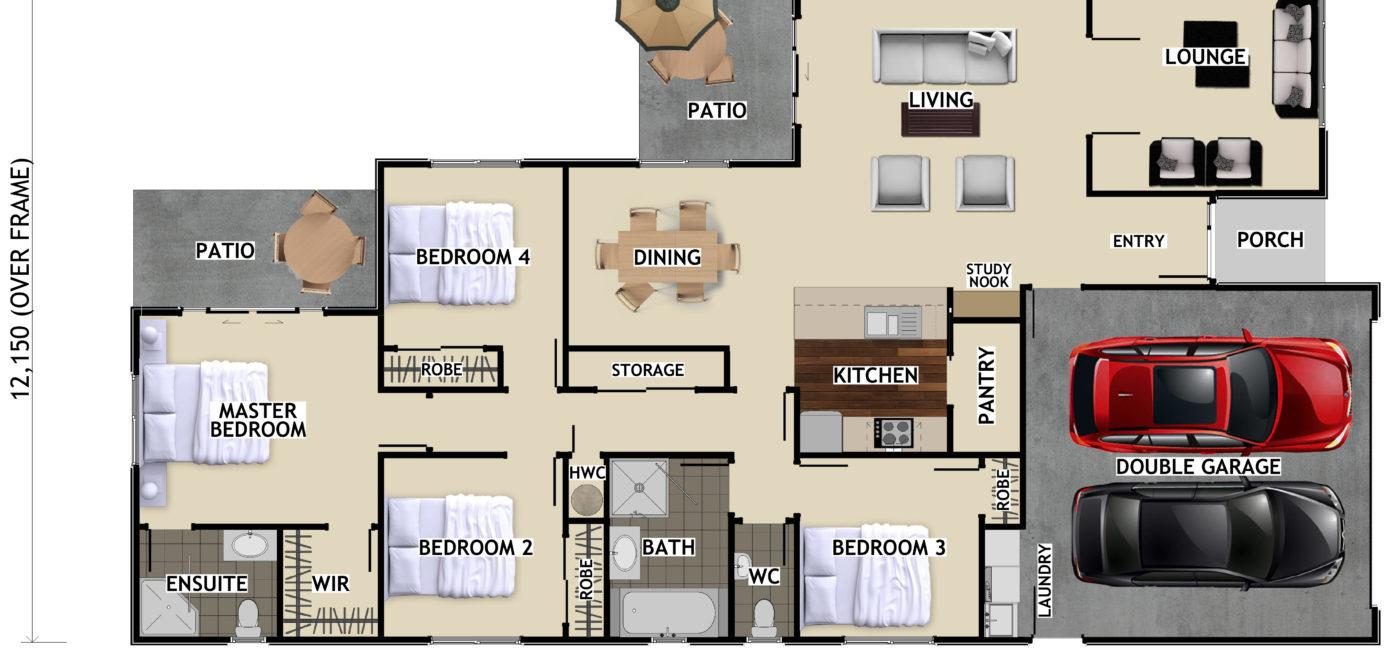 Eddie Plans  Grantham Coloured Floor Plan